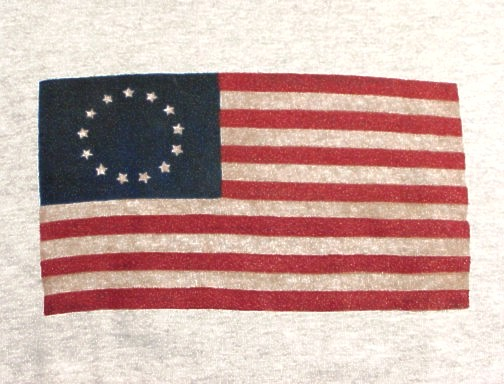 """Antiqued"" Betsy Ross Flag T-shirts are 100% cotton and generously cut."